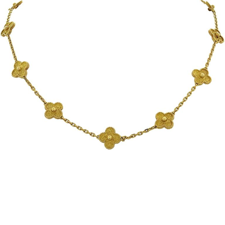Van Cleef & Arpels Vintage Alhambra long necklace, 20 motifs, yellow gold. In 1968, the Maison created a true icon of luck: the Alhambra collection. The first long necklace was born, combining yellow gold with the pure lines of the Alhambra