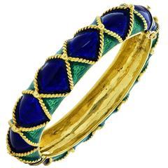 Peacock Enamel Gold Bracelet