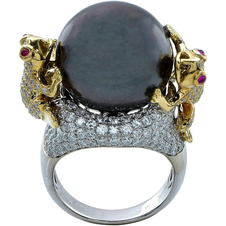 unique tahitian pearl ring with pave frogs at 1stdibs