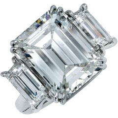 GIA Graded 7.98 Carat Emerald Cut Diamond Three-Stone Engagement Ring