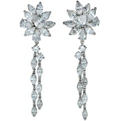13 Carat Diamond Platinum Stud and Dangle Earrings