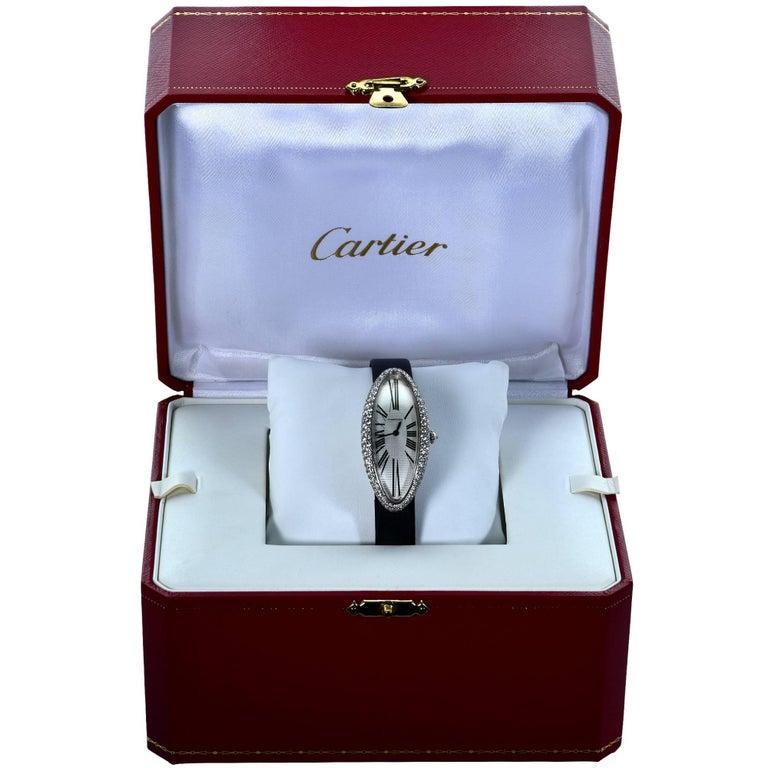Cartier Ladies white gold Diamond Baignoire Allongée wristwatch ref 2514 3