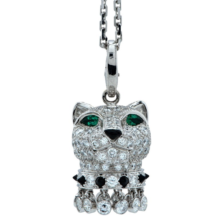 Modern Panthère de Cartier Diamond, Emerald and Onyx 18k Gold Panther Head Necklace For Sale
