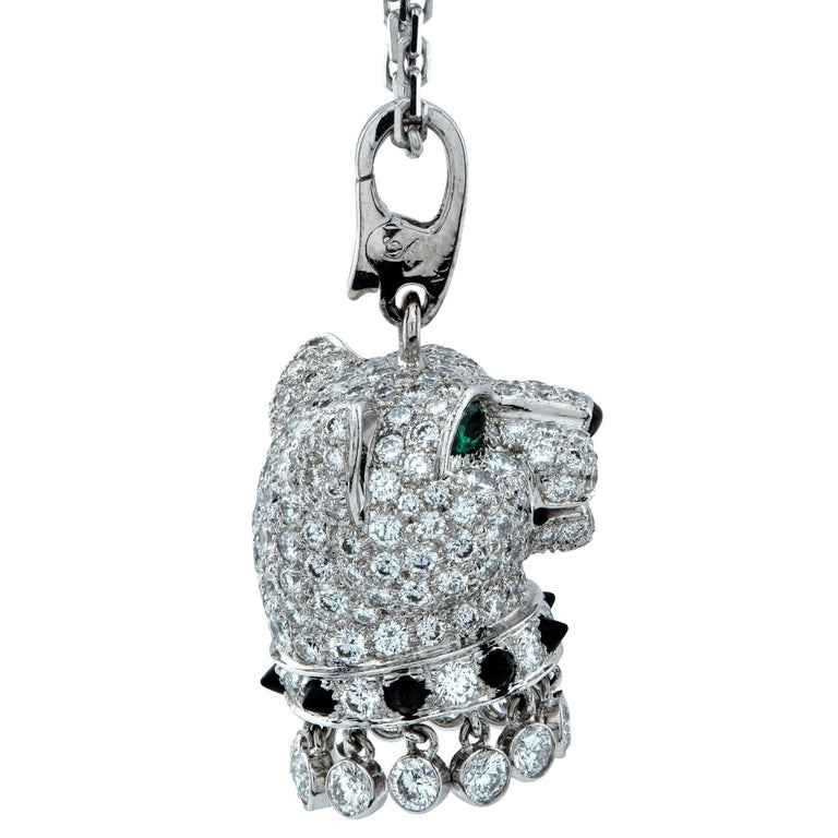 Round Cut Panthère de Cartier Diamond, Emerald and Onyx 18k Gold Panther Head Necklace For Sale