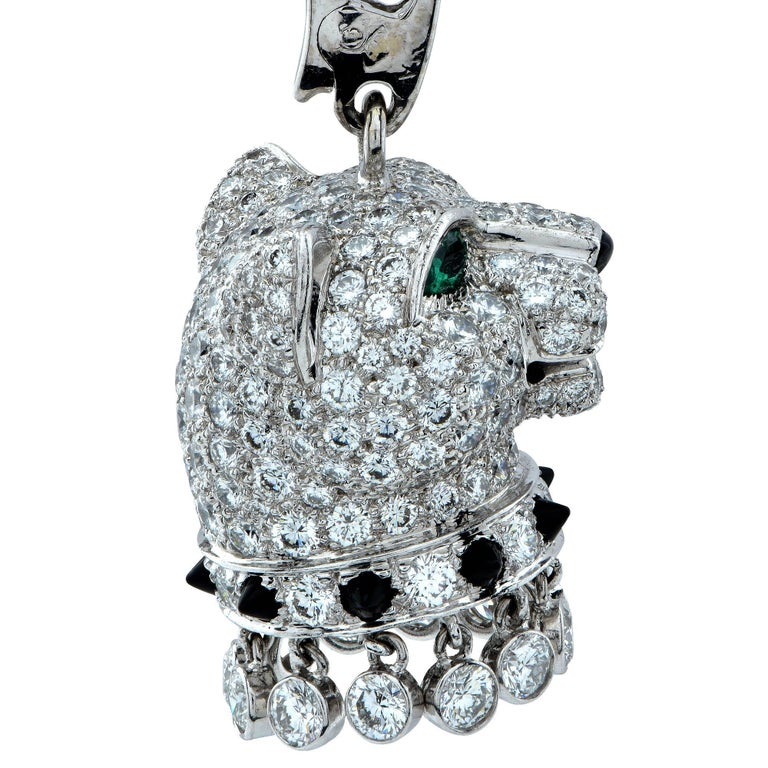 Cartier pendant from the coveted Panthere de Cartier collection, featuring a stunning panther head crafted out of 18k white gold, adorned with approximately 5 carats of round brilliant cut diamonds, F Color, VVS-VS clarity. This stunning panther has