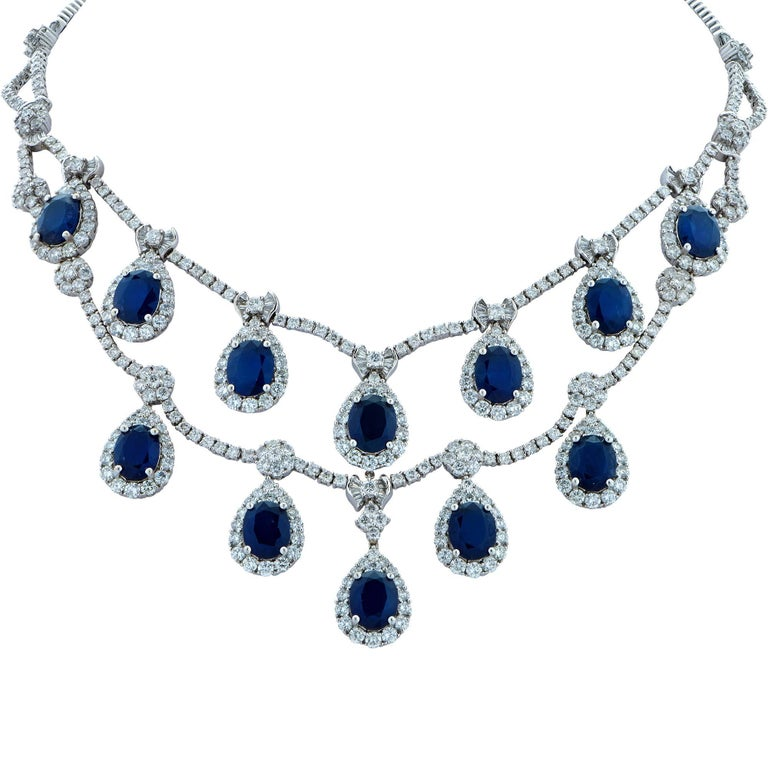 Impressive Sapphire and Diamond Necklace