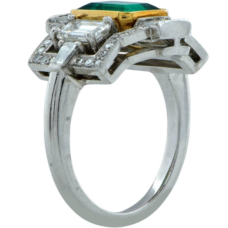 Emerald Cut 3.05 Carat Emerald and Diamond Ring For Sale
