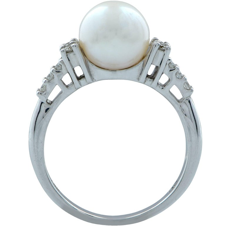 Modern Pearl and Diamond Ring For Sale