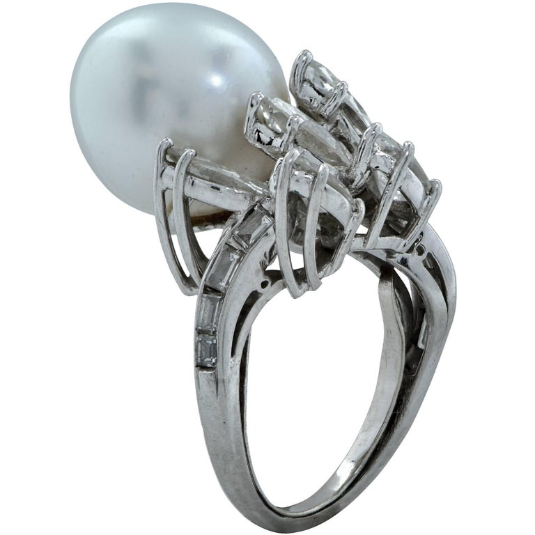 Marquise Cut Pearl and Diamond Ring For Sale