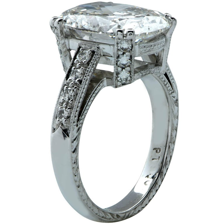 GIA Graded 5.10 Carat Cushion Cut Diamond Platinum Engagement Ring In New Condition For Sale In Miami, FL