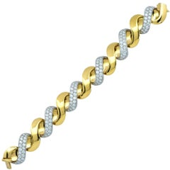 Oscar Heyman 18 Karat Yellow Gold and Diamond Bracelet