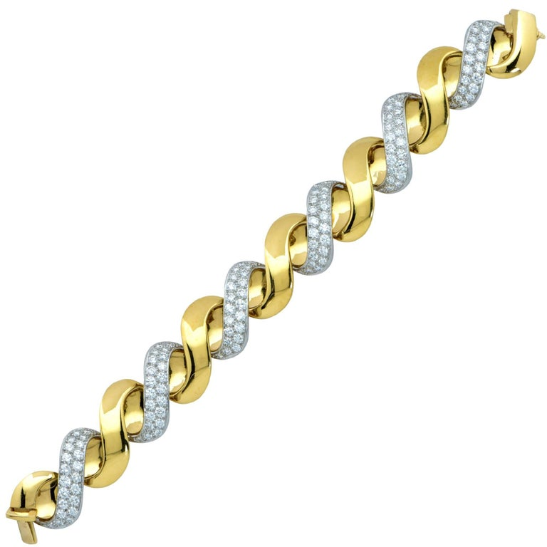 Oscar Heyman 18 Karat Yellow Gold and Diamond Bracelet