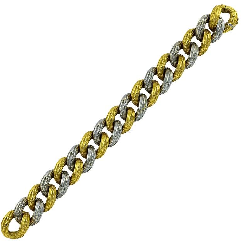 Van Cleef & Arpels 18 Karat Two-Toned Gold Textured Bracelet