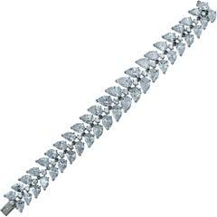 40 Carat Pear Shape Diamond Tennis Bracelet