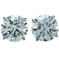 GIA Graded 8.32 Carat Diamond Stud Platinum Handmade Earrings