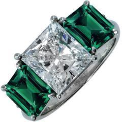Stunning 2.32 Carat GIA Princess Cut Emerald Diamond Platinum Ring