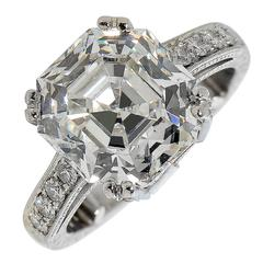 6.32 Carat GIA Certified Asscher Cut Diamond Platinum Engagement Ring