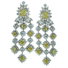 White and Yellow Diamond Chandelier Earrings