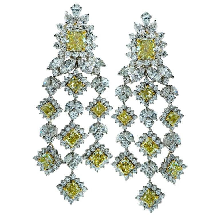 White and Yellow Diamond Chandelier Earrings