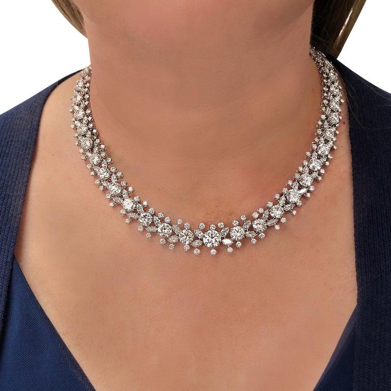 Women's Important Midcentury Harry Winston 52 Carat Diamond Necklace Bracelet Set For Sale