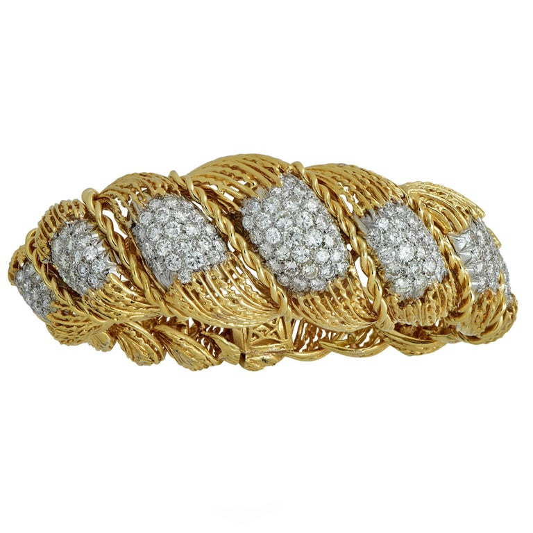 Hammerman Brothers 6.5 Carat Diamond 18 Karat Yellow Gold Bracelet In Excellent Condition For Sale In Miami, FL