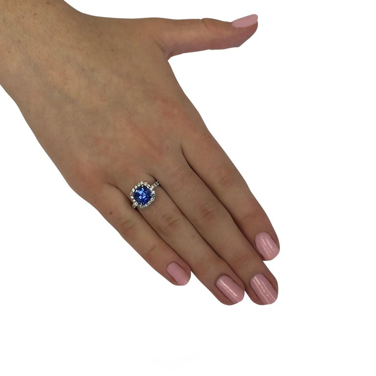 Cushion Cut 3.18 Carat Ceylon Blue Sapphire and Diamond Ring For Sale