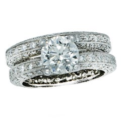 1.41 Carat Diamond Engagement Ring and Wedding Band Set