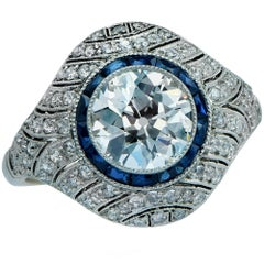 Modern Art Deco Style Old European Diamond Ring