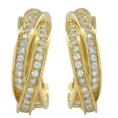 Cartier 18 Karat Yellow Gold Diamond Trinity Hoop Earrings