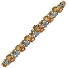 Citrine and Diamond Bracelet Yellow Gold Bracelet