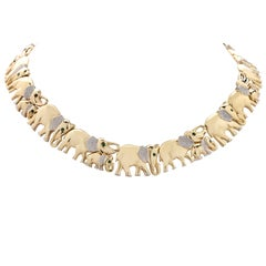 Yellow Gold Elephant Necklace