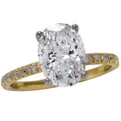 GIA Certified 2.02 Carat Oval Cut Diamond Engagement Ring