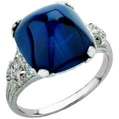 Art Deco 11.92 Carat Sugarloaf Sapphire and Diamond Ring