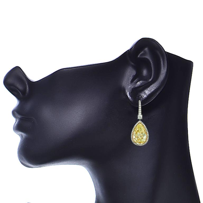 14.49 Carat Fancy Light Yellow Diamond Drop Earrings 3