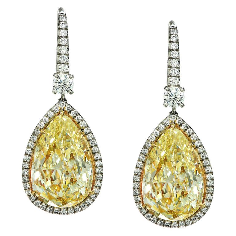 14.49 Carat Fancy Light Yellow Diamond Drop Earrings 1