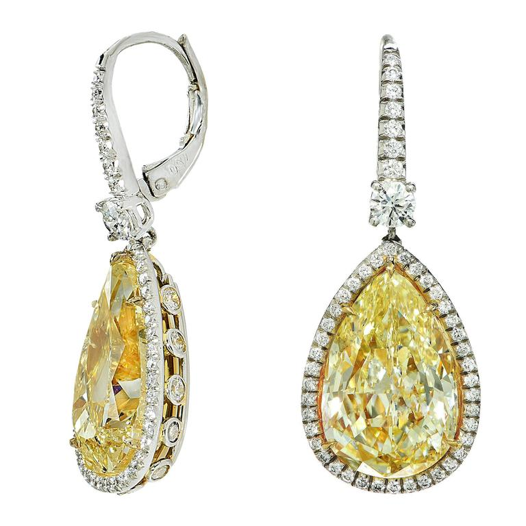 14.49 Carat Fancy Light Yellow Diamond Drop Earrings 2