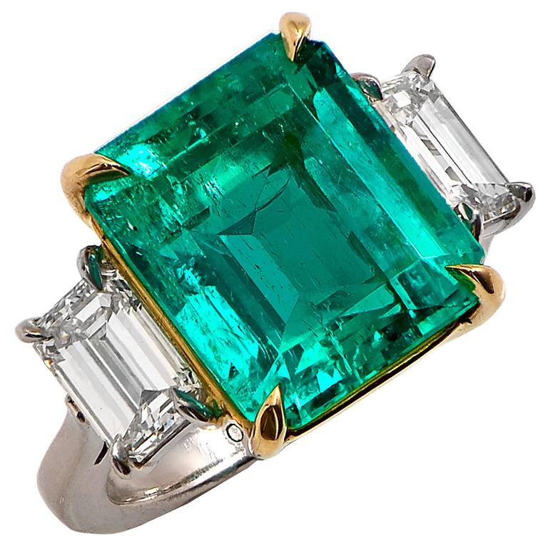 9.84 Carat Emerald Diamond Platinum Three-Stone Ring For Sale