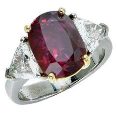 5 Carat Unheated Ruby Diamond Ring