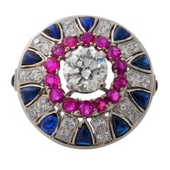 Impressive Platinum Deco Diamond, Ruby & Sapphire Ring
