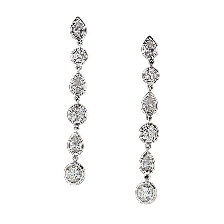 6.52 Carat Diamond Platinum Dangle Earrings