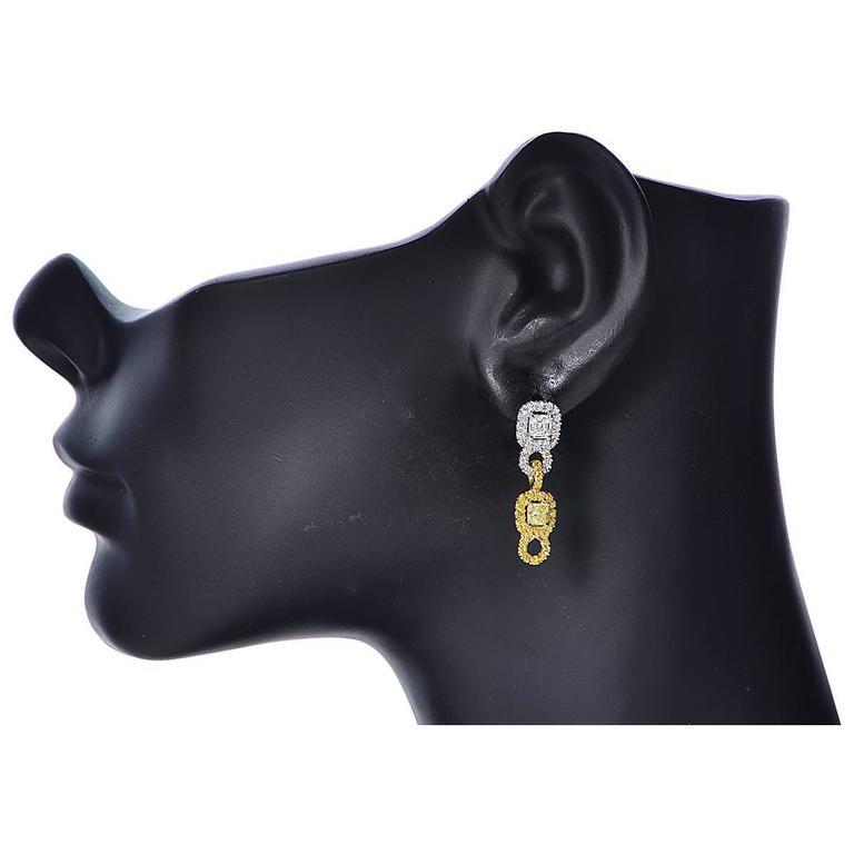 Diamond Gold Platinum dangle Earrings 2