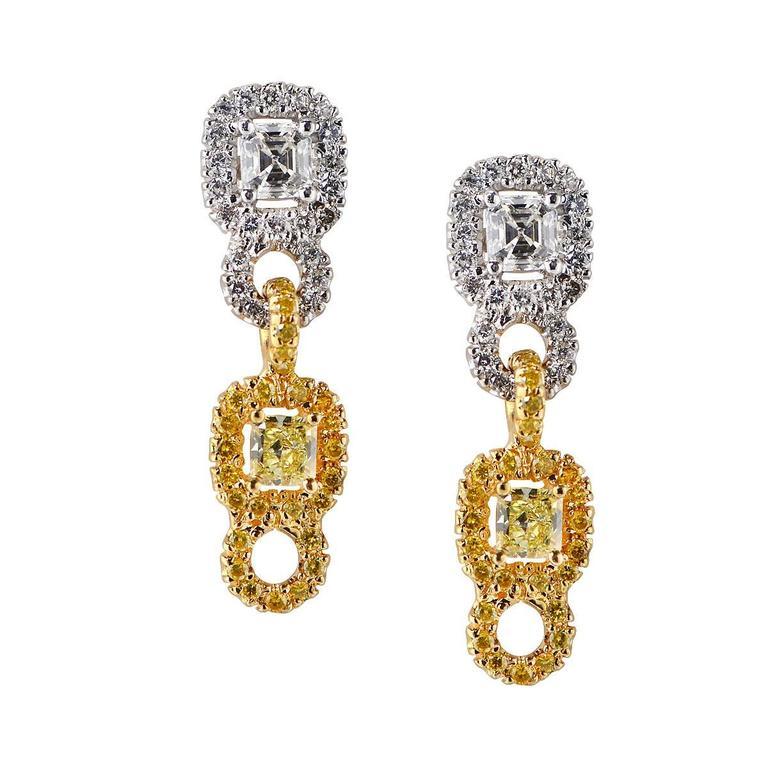 Diamond Gold Platinum dangle Earrings For Sale