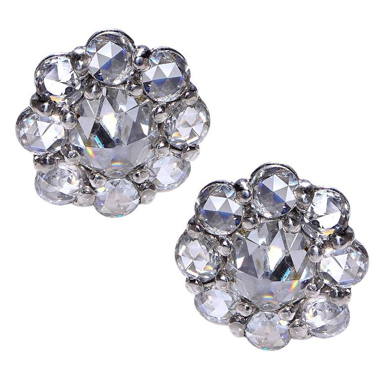 Rose Cut Diamond Platinum Cluster Earrings