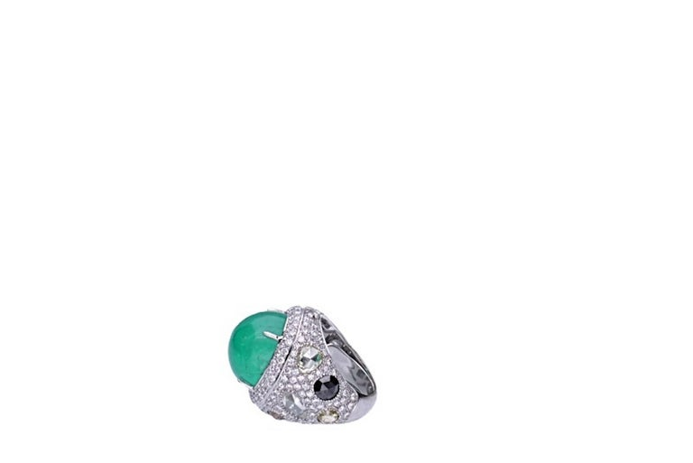 Modern 23.96 Carat Cabochon Emerald Cocktail Ring For Sale