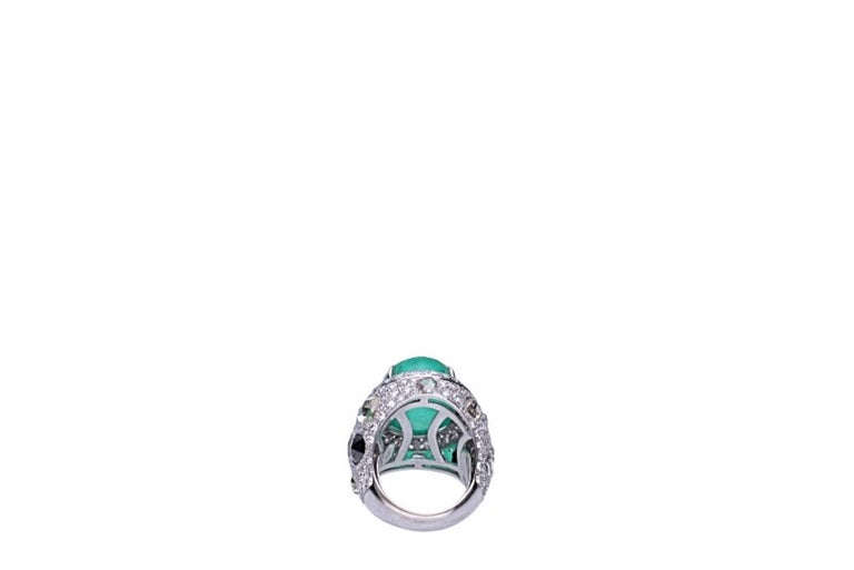 Rose Cut 23.96 Carat Cabochon Emerald Cocktail Ring For Sale