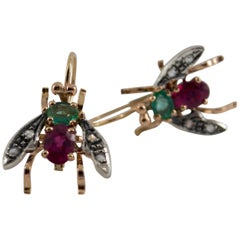Art Nouveau 3.0 Carat Ruby Emerald Flies Earrings