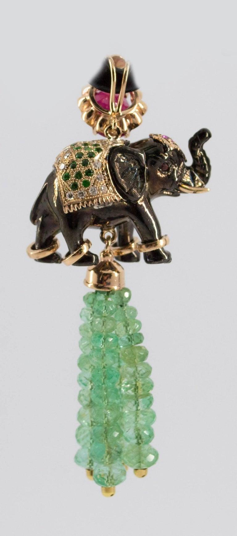 19.90 Carat Emerald 3.10 Carat Ruby Tsavorite Yellow Gold Elephant Pendant For Sale 10