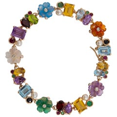Art Nouveau Emerald Ruby Sapphire Pearl Diamond Yellow Gold Flowers Bracelet