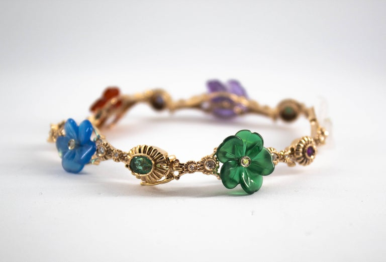 Art Nouveau Diamond Ruby Sapphire Emerald Amethyst Yellow Gold Flowers Bracelet In New Condition For Sale In Naples, IT