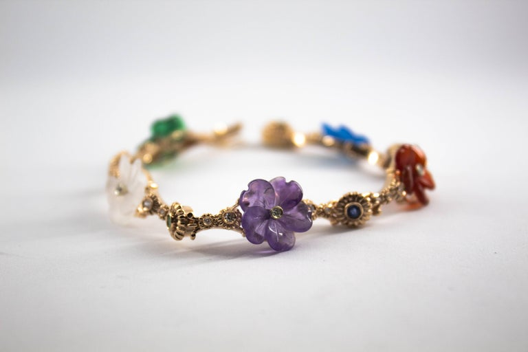 Women's or Men's Art Nouveau Diamond Ruby Sapphire Emerald Amethyst Yellow Gold Flowers Bracelet For Sale